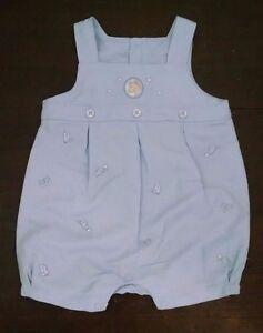 4cfd85bb1 Minibasix Baby Boy Romper 3M Light Blue Linen Blend Rocking Horse ...
