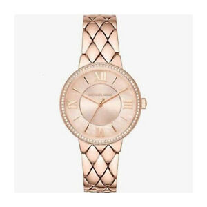 100-New-Michael-Kors-MK3705-Courtney-Pave-Rose-Gold-Tone-Dial-Women-039-s-Watch