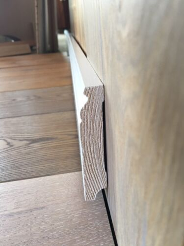 Fußleisten Massivholz 20x80mm Bremer//Hamburger Profil weiß lackiert 9,60 METER