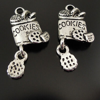 50pcs Antiqued Silver Vintage Alloy Cookies Box Cake Pendant Charms 37456