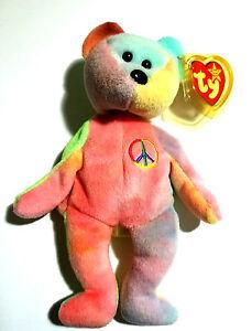 74afa714244 1996 TY Beanie Babies Peace Tie-Dye Bear - RARE WITH TAG ERRORS ...