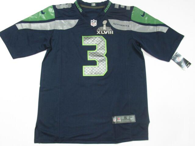 New Russell Wilson #3 Seattle Seahawks Super Bowl 48 XLVIII Jersey Blue