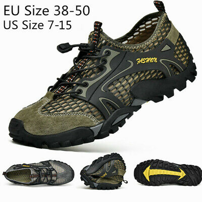 Mens Outdoor Sneakers Water Shoes Mesh Breathable Slip on Flats Hiking Casual US