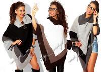 Pullover Strick Poncho Tunika Pulli Neu in 6 Farben Gr.36 38 40 42 #M5# Winter