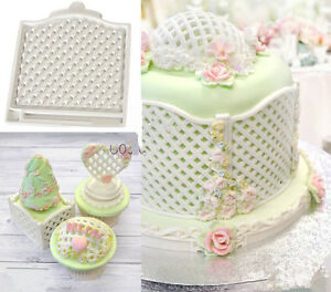 Trellis Fence Basket Silicone Mould Fondant Cake Molds Cupcake ...