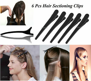 6 Piece Black Matte Hairdresser Hairdressing Sectioning Hair Clip