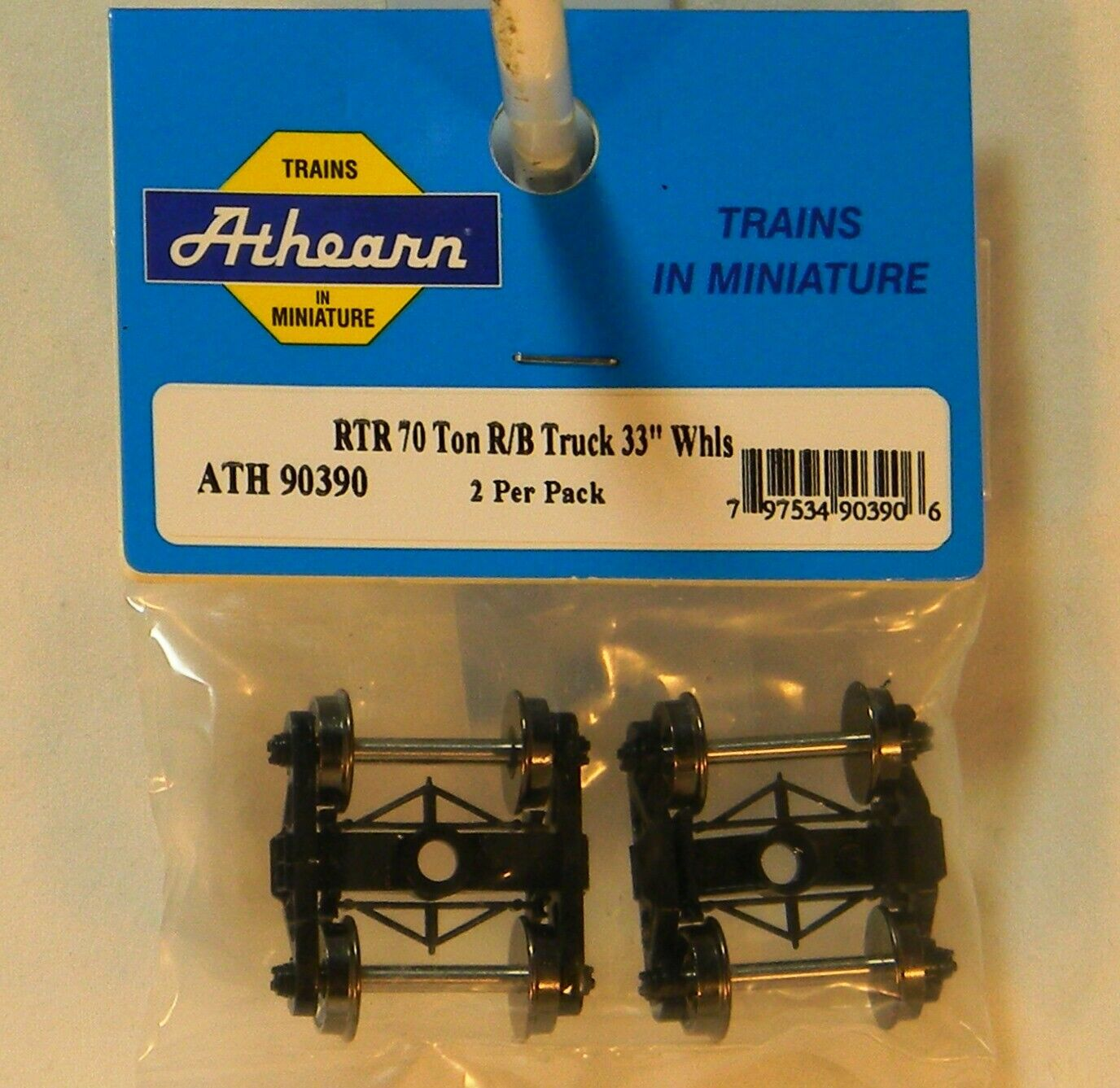 """Athearn HO 70-Ton Roller Bearing Trucks with 33/"""" Metal Wheels 2 Pack # 90390"""