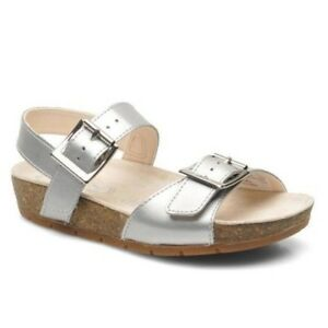 750c0276fb2fb1 Image is loading Clarks-Volkin-Icon-Silver-Leather-Girls-Sandals