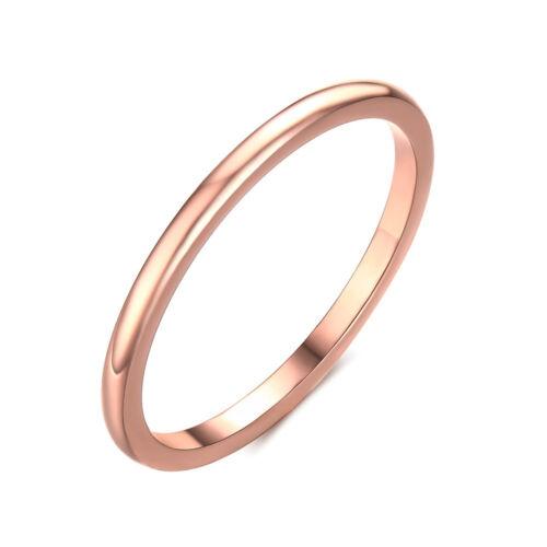 Taille 6-8 Or Rose Simple Bague Acier Inoxydable Hommes//Femmes Mariage Bande Bijoux