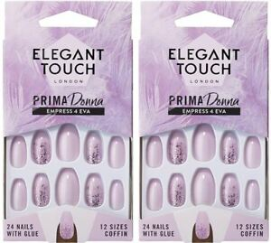 NEW-Elegant-Touch-Prima-Donna-24-False-Nails-With-Glue-Empress-4-Eva-2-PACKS