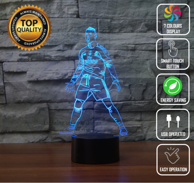 Super Cristiano Ronaldo Cr7 Real Madrid 3D Night Light Led 7 Colour Touch Desk Lamp Home Remodeling Inspirations Basidirectenergyitoicom