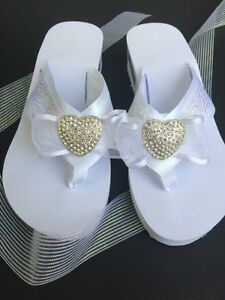 0fcc7c5cc2594 Details about White Bridal Flip Flops, Wedding Wedge Shoe, Rhinestone  Heart, ribbon and lace.