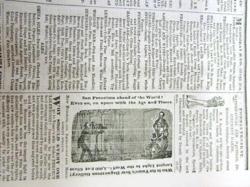 Rare original 1855 CALIFORNIA financial newspaper SAN FRANCISCO PRICES CURRENT