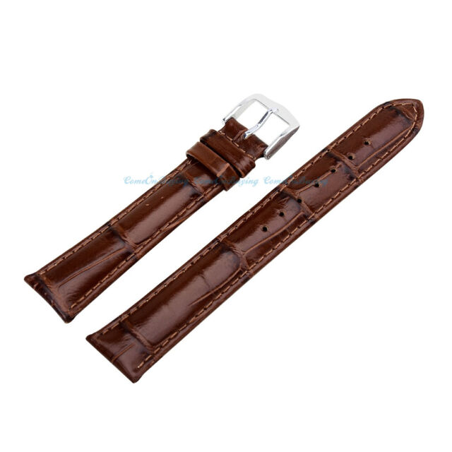 Quality Brown Genuine Leather Crocodile Stainless Steel Buckle Watch Strap Band