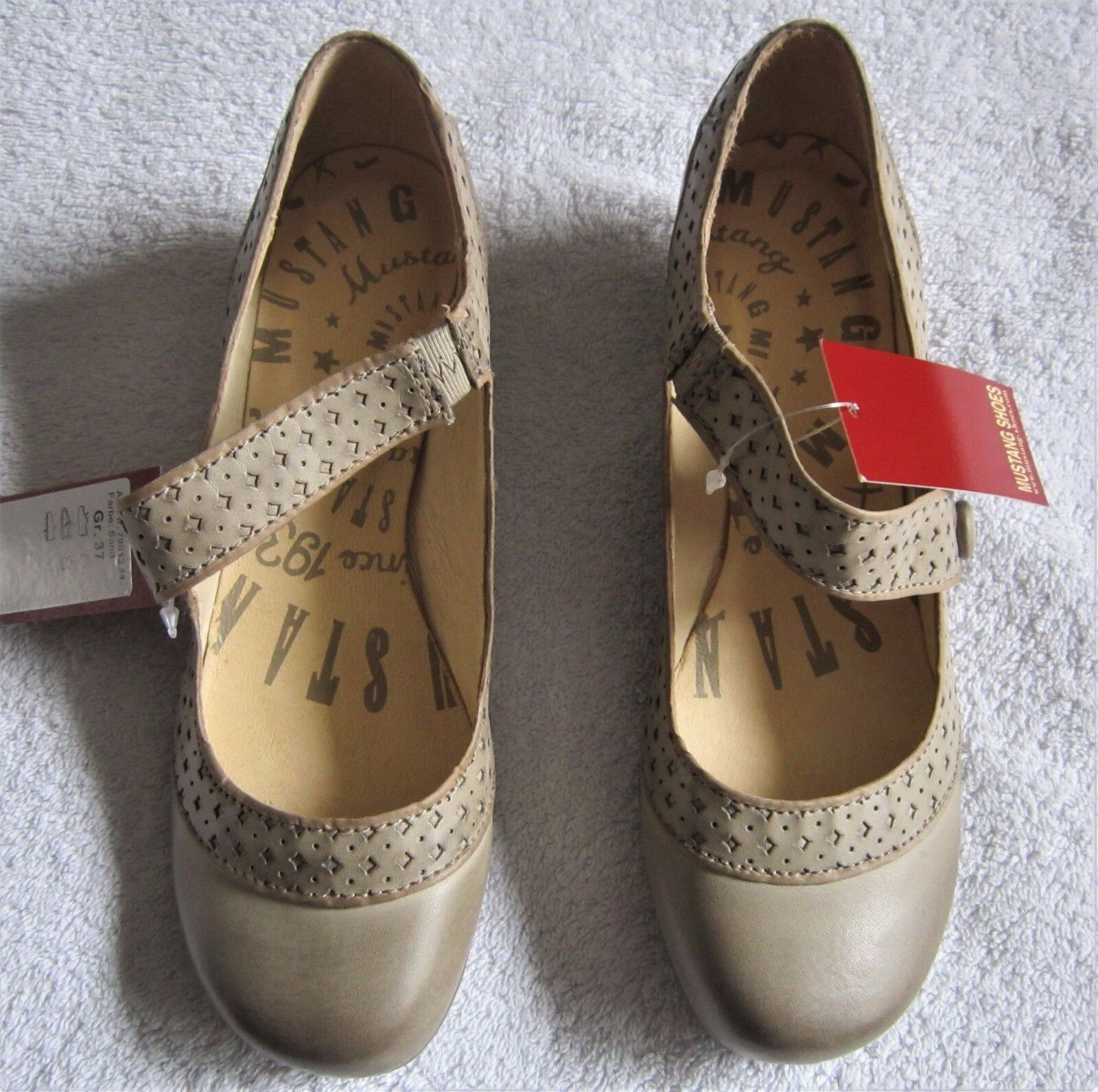 NEU Mustang Spangenpumps Pumps sand beige braun flach 37 39 Ballerinas Schuhe
