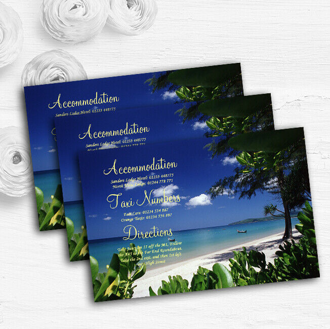 Thailand Beach Palm Tree Personalised Wedding Guest Information Cards