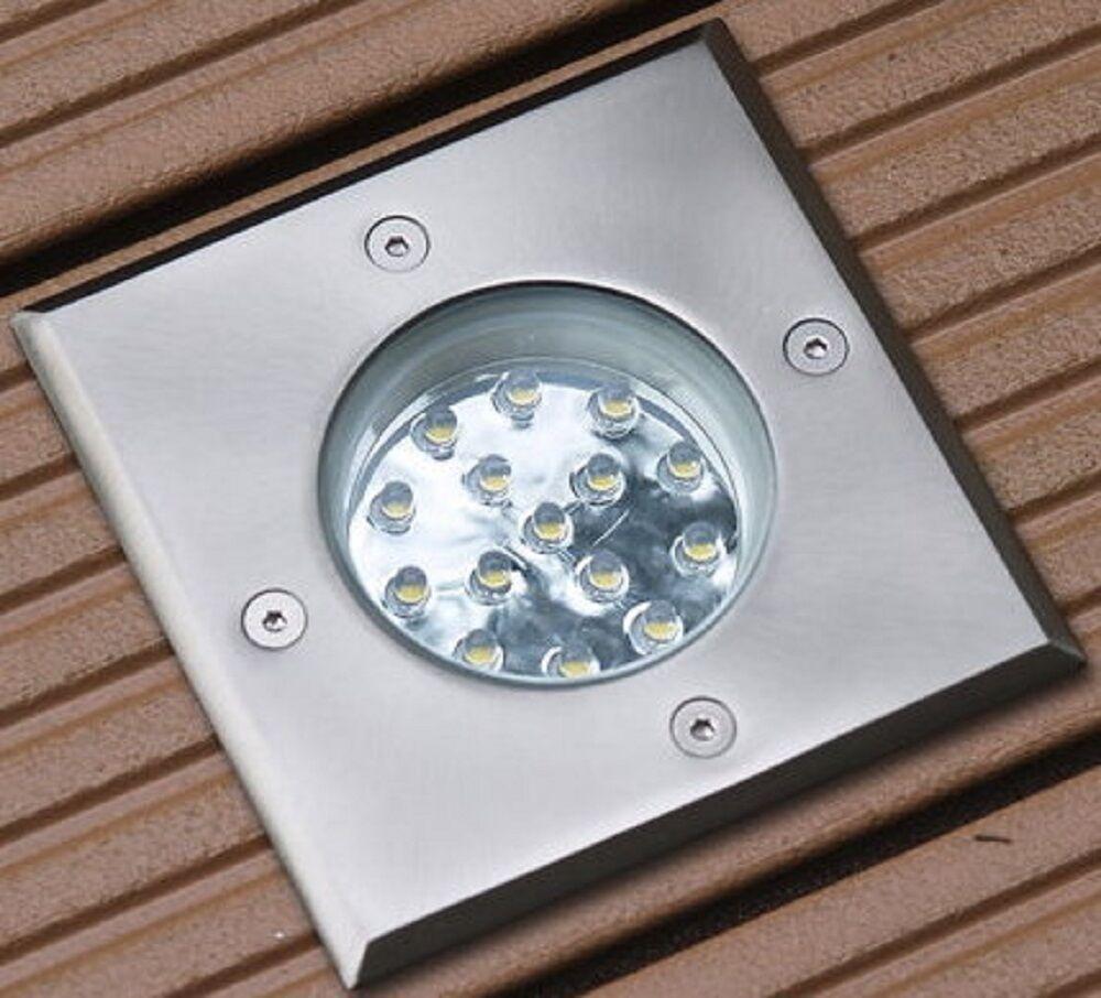 Terrassen Einbaustrahler Luna Led 1,2 Watt  230V Eckig IP-67