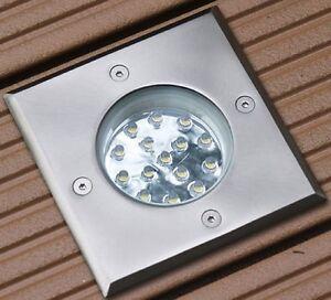 terrassen einbaustrahler luna led 1 2 watt 230v quadratisch ip67 begehbar ebay. Black Bedroom Furniture Sets. Home Design Ideas