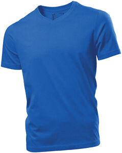 aa585e22 Hanes Mens Plain ROYAL MID BLUE Organic Cotton Vee V-Neck Tee T ...