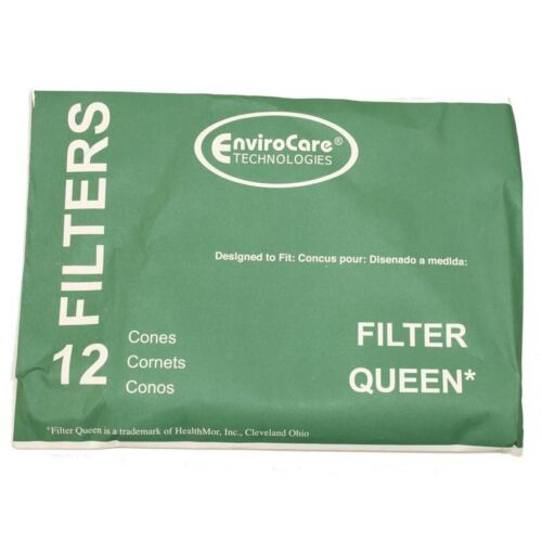 12 Filter Queen EnviroCare Filtration Replacement Cones /& 2 Round Motor Filters