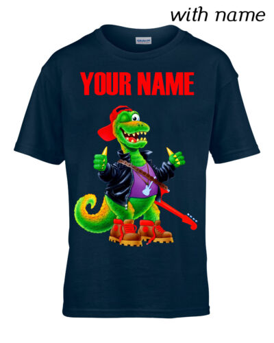 YOUR NAME ROCK/'N/'ROLL DINO Personalized Kids T-Shirt DTG