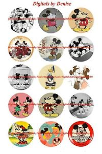 Mickey Mouse Bottle Cap images 1in circle images precut images 15pc