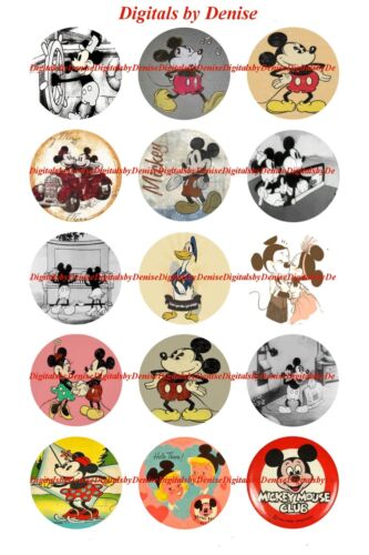 """MICKEY MOUSE VINTAGE 1/"""" CIRCLES  BOTTLE CAP IMAGES $2.45-$5.50  *FREE SHIPPING*"""