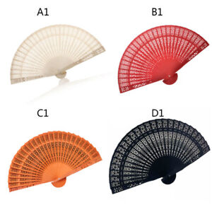 Women-Chinese-Wooden-Bamboo-Folding-Hand-Fan-Wedding-Floral-Pattern-Vintage
