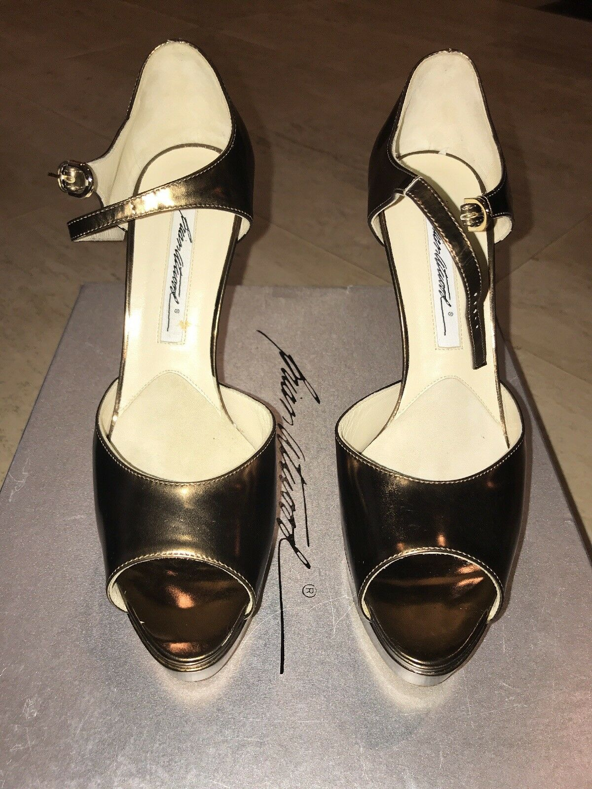 Brian Atwood Tribeca Bronze Leather 37.5 GORGEOUS Retailed for  1100
