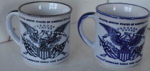 Vintage-1776-1976-United-States-of-America-Eagle-Lot-of-2-Cup-Mug