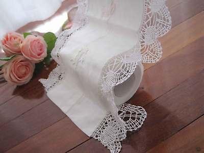 Elegant Hand Bobbin Lace Embroidery Cotton Toilet Roll Holder Organiser White