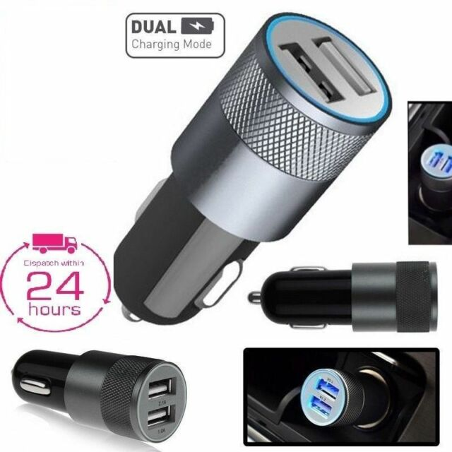 CAR CHARGER DOUBLE USB TWIN 2 PORT DUAL 12-24V CIGARETTE SOCKET LIGHTER BLACK-W
