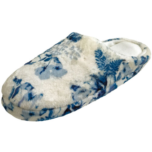 Ladies White Blue Slip On Mule Slippers Christmas Gift Good Soles Size 7//8 sale