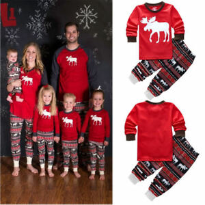 Image is loading Family-Matching-Reindeer-Pyjamas-Cotton-Nightwear-Sleepwear -Pj- 6d48a68f6