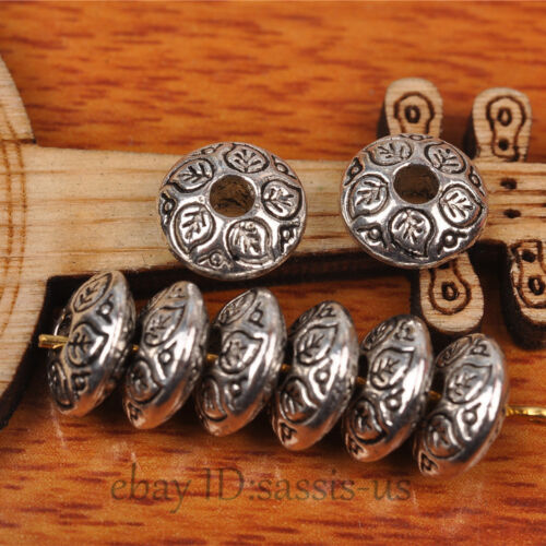 50pcs 9mm Oval Tibet silver Beads Spacer DIY Jewery Making Fit Bracelet A7271
