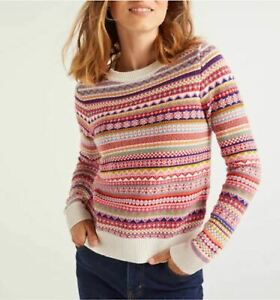XS-Boden-Louise-Fair-Isle-Sweater-striped-pink-Wool-Cotton-Cashmere-NWT
