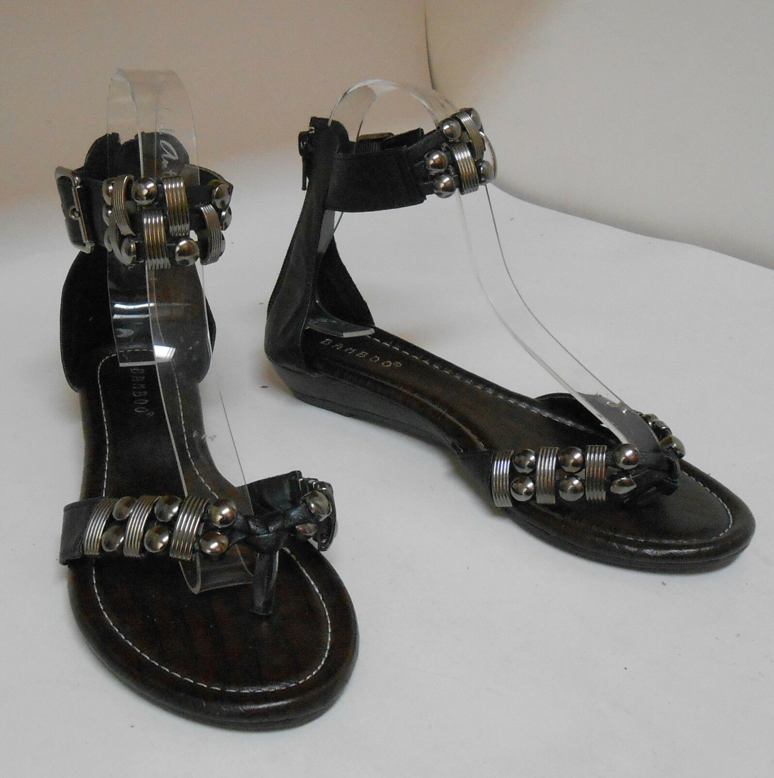 Summer Black Womens Shoes Ankle Strap Sandals Studs Sandals Strap Size 5.5 be33eb