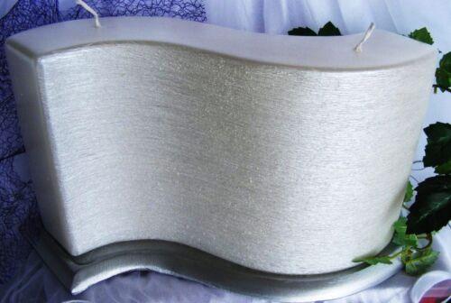 HOCHZEITSKERZE Taufkerze Rohling  WELLENFÖRMIG 250//150//50 mm Gebürstet Perlmutt