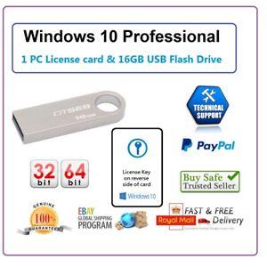 Dettagli su MICROSOFT Windows 10 PRO Professional 32/64bit (USB) e 1 PC  Licenza Chiave Magnetica- mostra il titolo originale