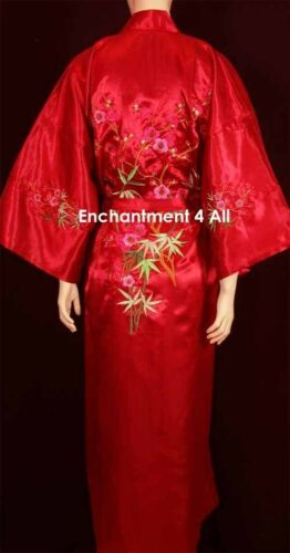 Red Embroidered Floral Design Silk Satin Kimono Robe Sleepwear Long Waist Tie