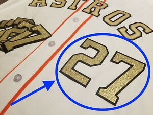 low priced beab0 998d1 Details about Jose Altuve Houston Astros Gold Jersey Number lettering kit  -Championship patch