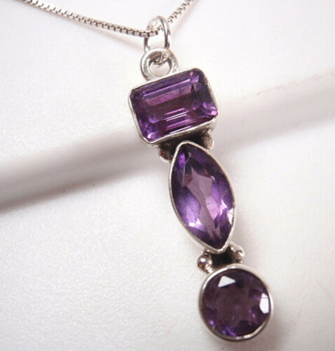 Faceted Amethyst Baguette Marquise 3-Gem 925 Sterling Silver Necklace