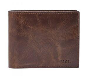 FOSSIL-Derrick-Large-Pocket-Bifold-Geldboerse-Portemonnaie-Leder-Dark-Brown-Neu