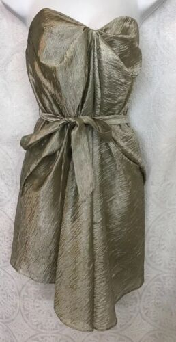 Zimmerman Dress Strapless Gold Textured Loose With