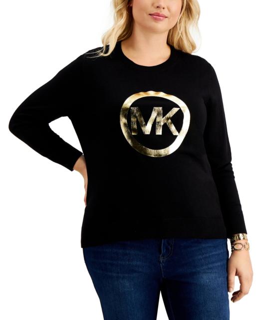 Michael Kors Black Graphic Sweater MK Metallic Gold Logo Women's Plus Size 3X