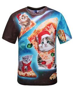 Noel-Chats-Riding-Pizza-dans-l-039-espace-T-Shirt-Drole-astronaute-Cats-T-Shirt