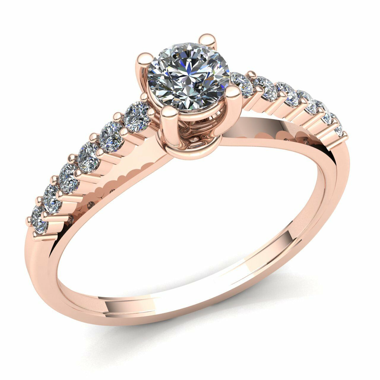 Genuine 0.60ctw Round Diamond Ladies Accented Solitaire Engagement Ring 14K gold