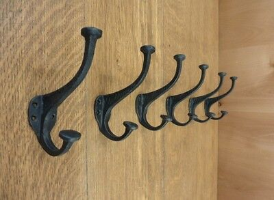 Lot 8 New Antique-Style Rustic Flat Top Hat Coat Hooks Cast Iron Wall Mount