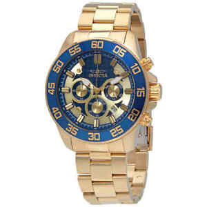 Invicta-Pro-Diver-Chronograph-Gold-and-Blue-Dail-Men-039-s-Watch-24727
