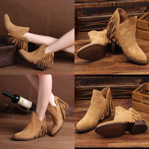 Zara bottes en cuir avec 39 frange taille eur 37 _ 39 avec d4178d